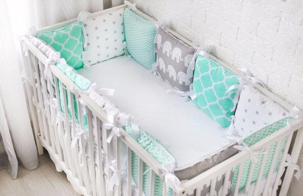Бампер на кроватку для новорожденных своими руками 47